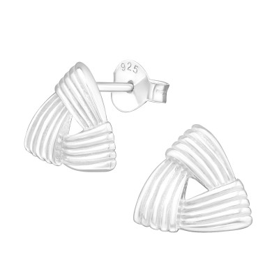 Silver Celtic Knot Triangle Ear Studs