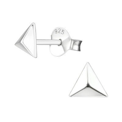 Silver Pyramid Ear Studs