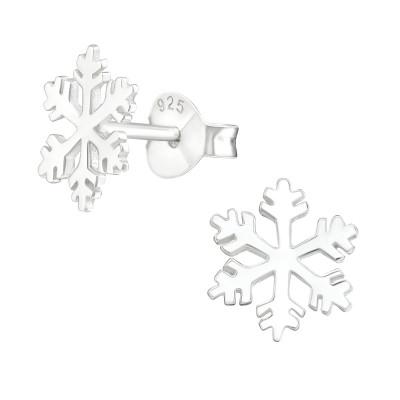 Silver Snowflake Ear Studs