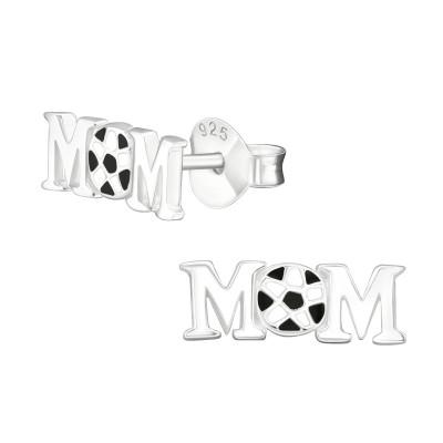 Silver Football Mom Ear Studs with Epoxy