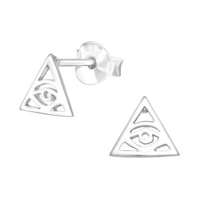 Silver Evil Eye Ear Studs