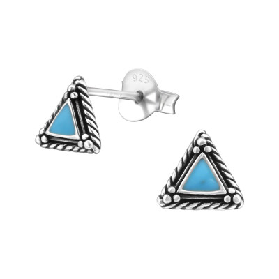 Silver Triangle Ear Studs with Epoxy