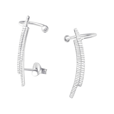 Silver Curved Ear Studs with Cuff