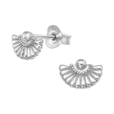 Silver Folding Fan Ear Studs