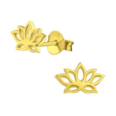 Silver Lotus Flower Ear Studs