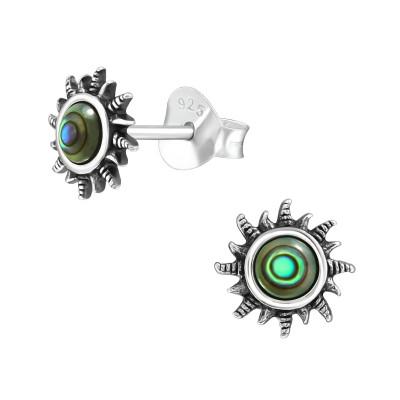 Silver Sun Ear Studs with Imitation Stone