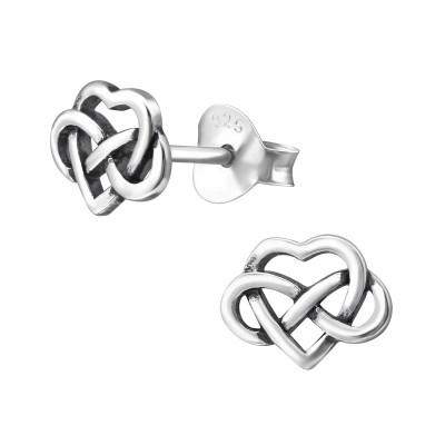 Silver Celtic Heart Ear Studs