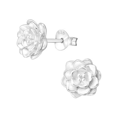 Silver Lotus Ear Studs