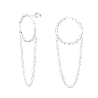 Silver Circle Ear Studs with Hanging Chain