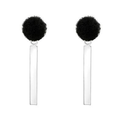 Silver Pom-Pom Ear Studs with Hanging Bar