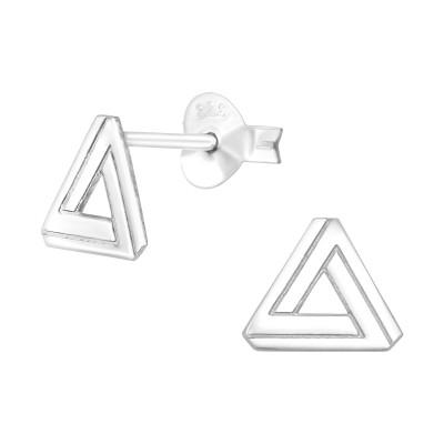 Silver Laser Cut Triangle Ear Studs