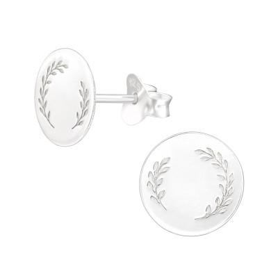 Silver Laser Cut Leaf Ear Studs