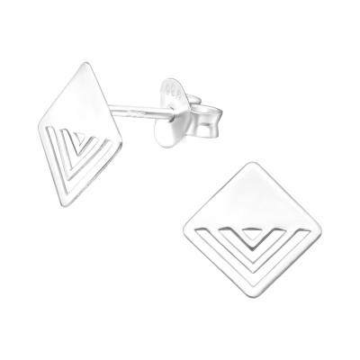Silver Laser Cut Square Ear Studs