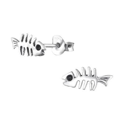 Silver Fishbone Ear Studs