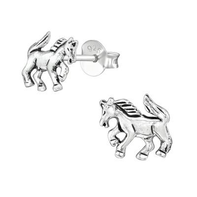Silver Horse Ear Studs