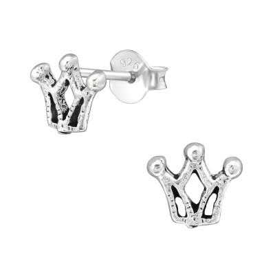 Silver Crown Ear Studs