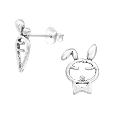 Silver Rabbit and Carrot Ear Studs