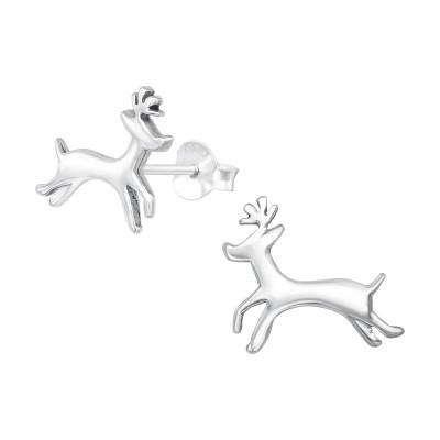 Silver Reindeer Ear Studs