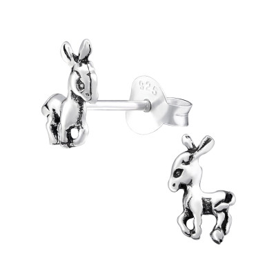 Silver Deer Ear Studs