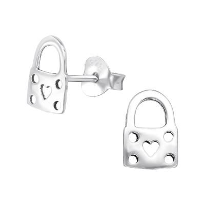 Silver Padlock Ear Studs