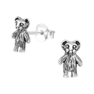 Silver Bear Ear Studs