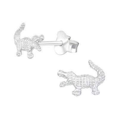 Silver Crocodile Ear Studs
