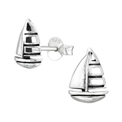 Silver Sailboat Ear Studs