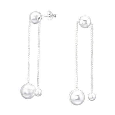 Silver Bell Ear Studs with Hanging Chain