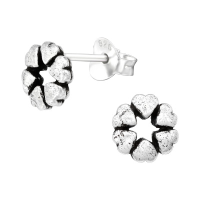 Silver Hearts Ear Studs