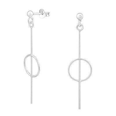 Silver Ball Ear Stud with Hanging Geometric