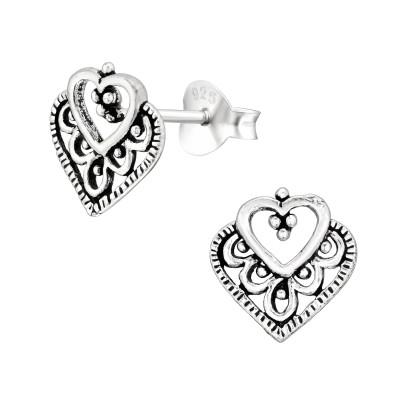 Silver Heart Ear Studs