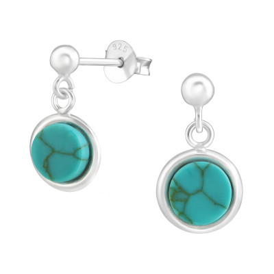 Silver Ball Ear Studs with Hanging Round Imitation Stone