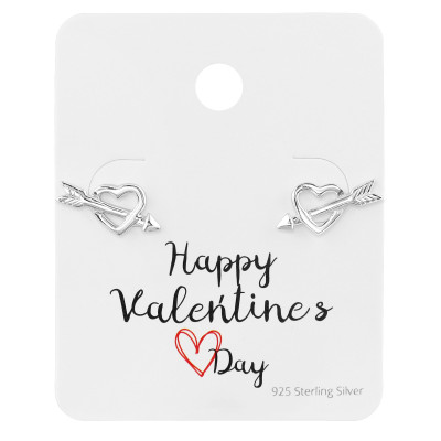 Silver Heart and Arrow Ear Studs on Happy Valentine's Day Card