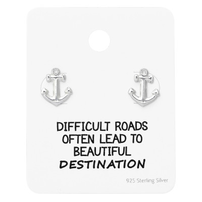 Silver Anchor Ear Studs on Motivational Quote Card