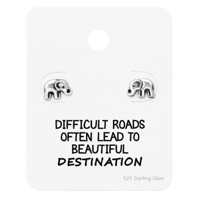 Silver Elephant Ear Studs on Motivational Quote Card