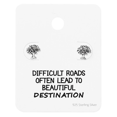 Silver Tree of Life Ear Studs on Motivational Quote Card