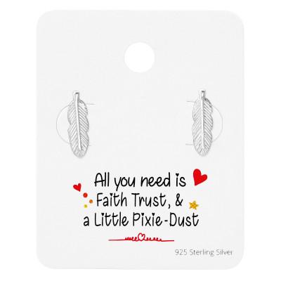 Silver Feather Ear Studs on Cute Card