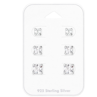 Silver Square 4mm, 5mm and 6mm  Ear Studs with Cubic Zirconia on Card