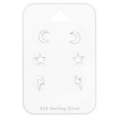 Silver Sky Ear Studs Set on Card
