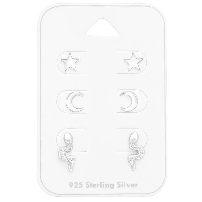 Silver Star, Moon and Snake Jewelry Set on Card
