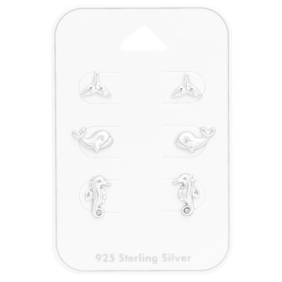 Silver Beach Set with Crystal Jewelry on Card
