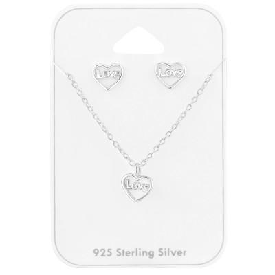 Silver Love Heart Set on Card