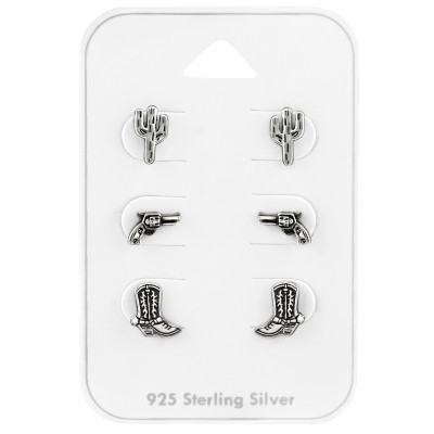 Silver Cowboy Ear Studs Set on Card