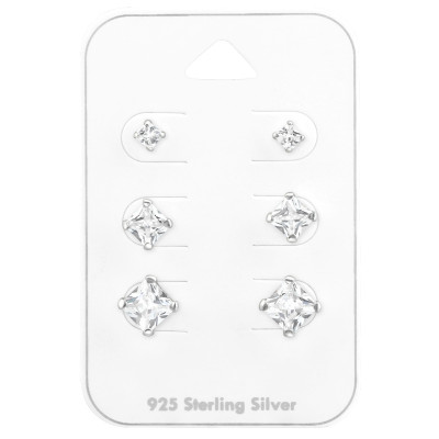 Silver Square 3mm, 5mm and 6mm Ear Studs Set with Cubic Zirconia on Card