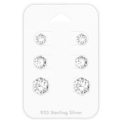 Silver Round 4m, 6m and 8mm Ear Studs Set with Cubic Zirconia on Card
