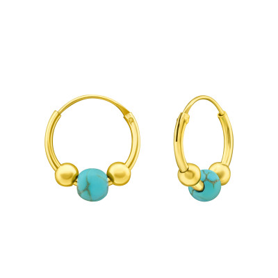 Silver 12mm Bali Hoops with Turquoise Bead