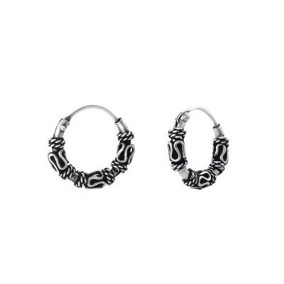 Silver 10mm Bali Hoops