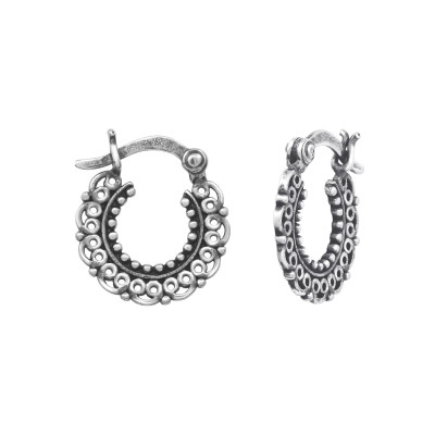 Silver Ethnic Bali Hoops with French Lock