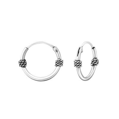 Silver 12mm Bali Hoops