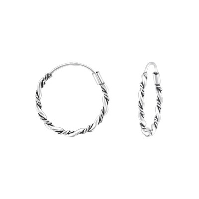 Silver Twisted 16mm Bali Hoops